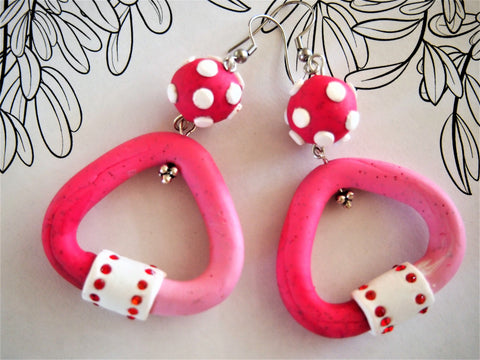 Tubulat red with white polka dot earrings by Ellar Roos