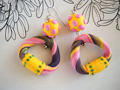 Candy Rock twist earrings in Pink and Yellow by Ellar