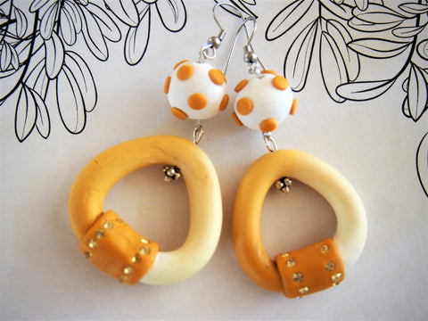 Designer Handcrafted,Tubular sand and white dangle earrings by Ellar