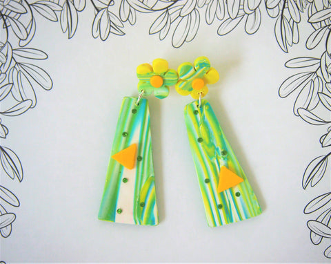 Designer earrings in green and yellow by Ellar