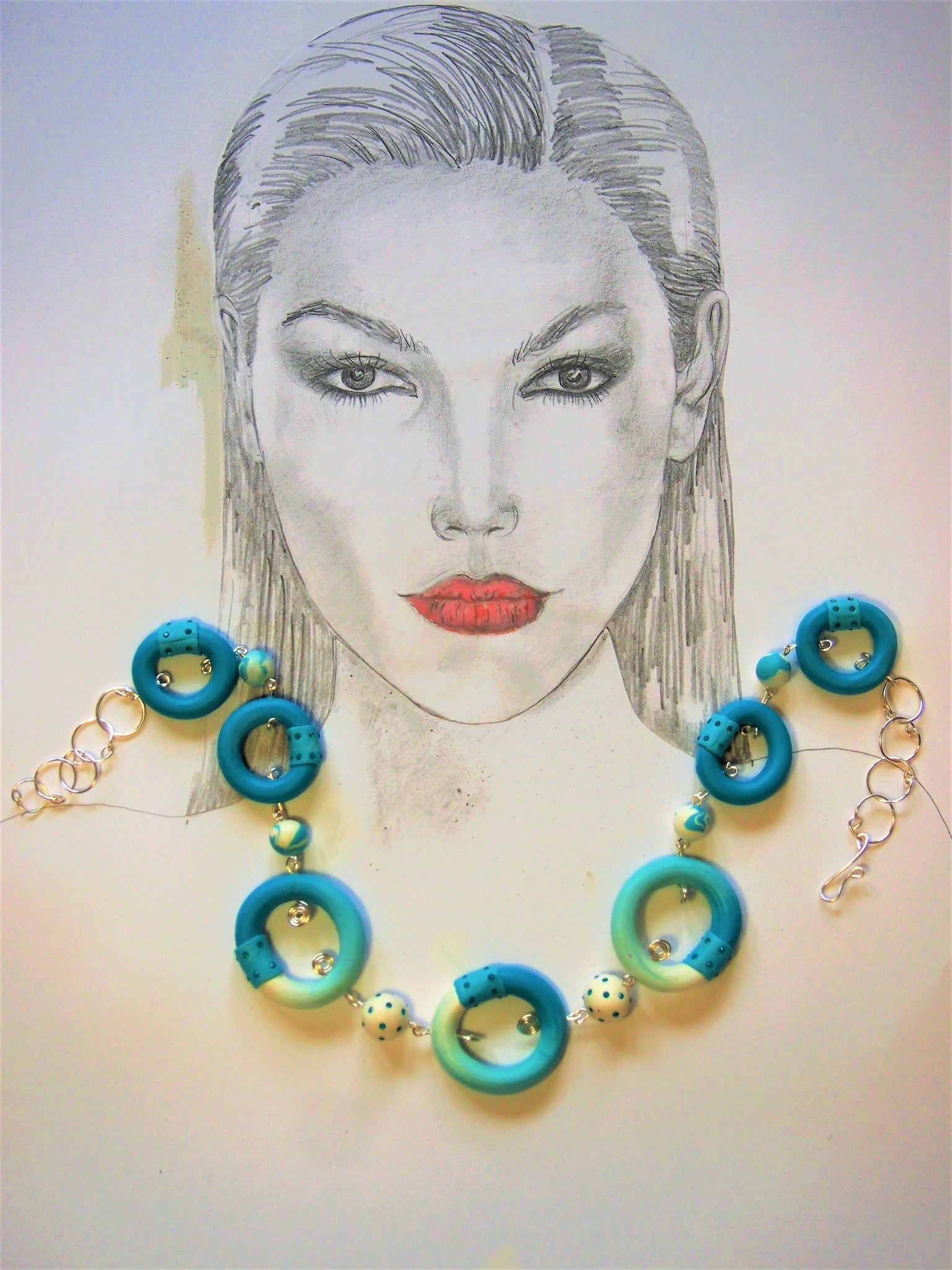 Turquoise Ring upon Ring necklace by Ellar