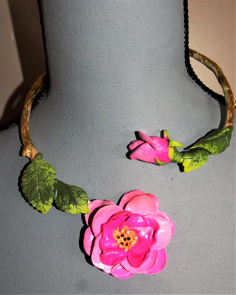 Pink Rose adjustable, wired, Choker Ellar Roos