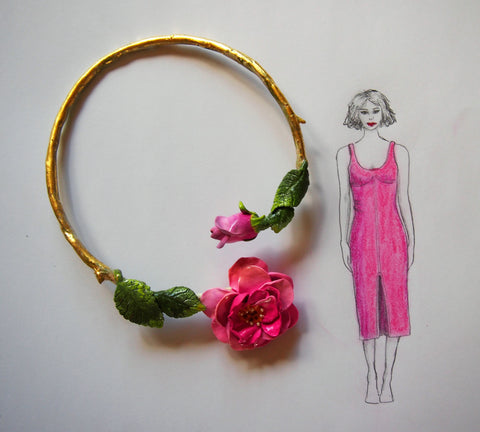 Pink Rose Spring Necklace an ER creation