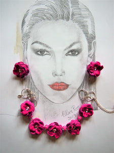 Stunner Rose Necklace and earring set. Ellar Roos