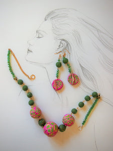 Soft Pink and Garden Green Necklace and Earring Set Ellar Roos design