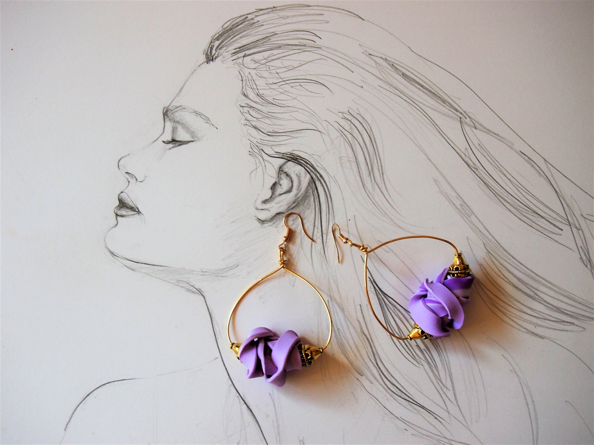 Mauve Fettuccini Earrings, Ellar Roos