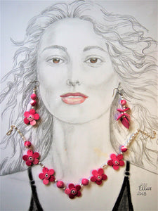 Pink Petal necklace and earring set by Ellar