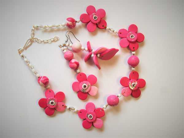 Pink Petals necklace and earring set by Ellar