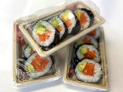 Fresh Salmon and Avocado Sushi 4 piece pack