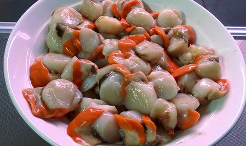 Currently out of season - Fresh Coromandel Scallops with roe (per 200 grams)