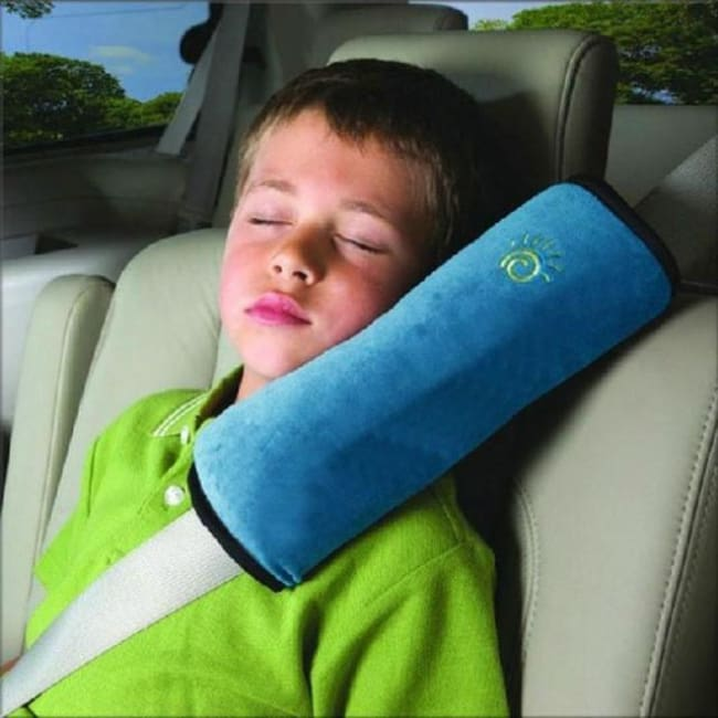 Childrens Seat Belt Pillow Strap - Blue