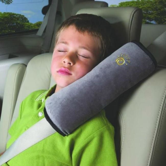 Childrens Seat Belt Pillow Strap - Gray