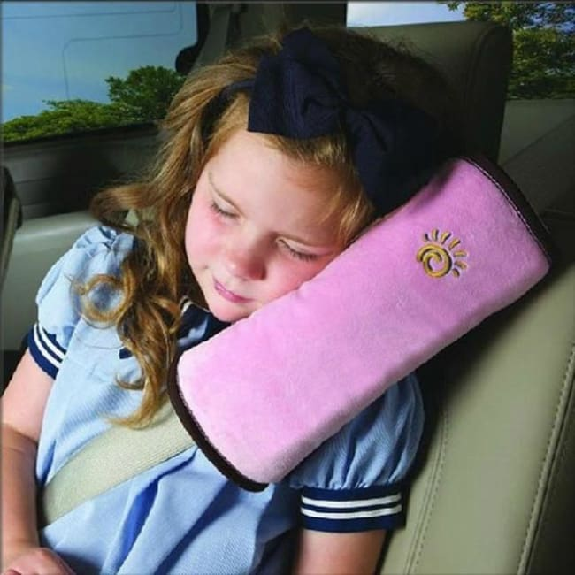 Childrens Seat Belt Pillow Strap - Pink