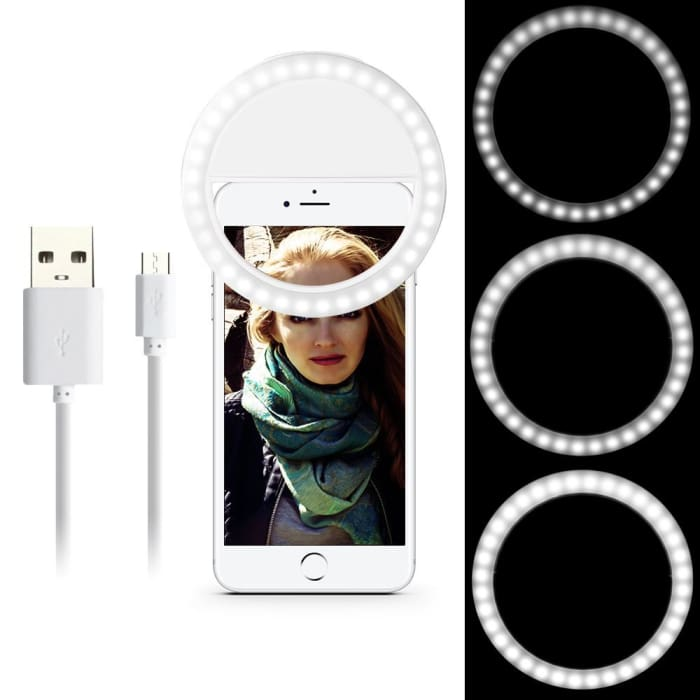 Portable Selfie Ring Light - White