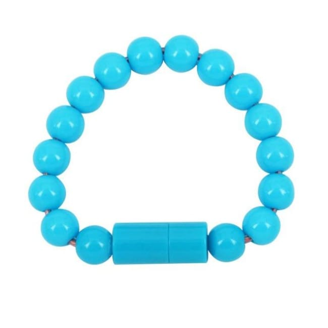 Usb Cable Pearl Bracelet - Blue For Android