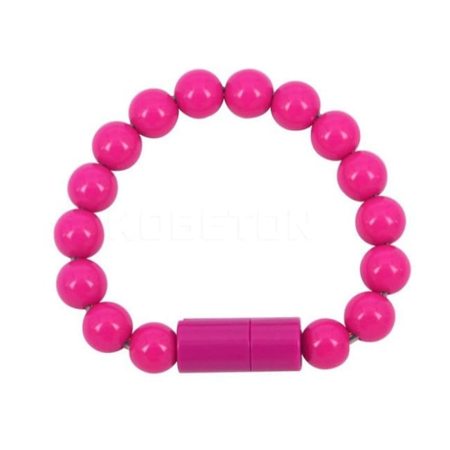 Usb Cable Pearl Bracelet - Rose Red For Android