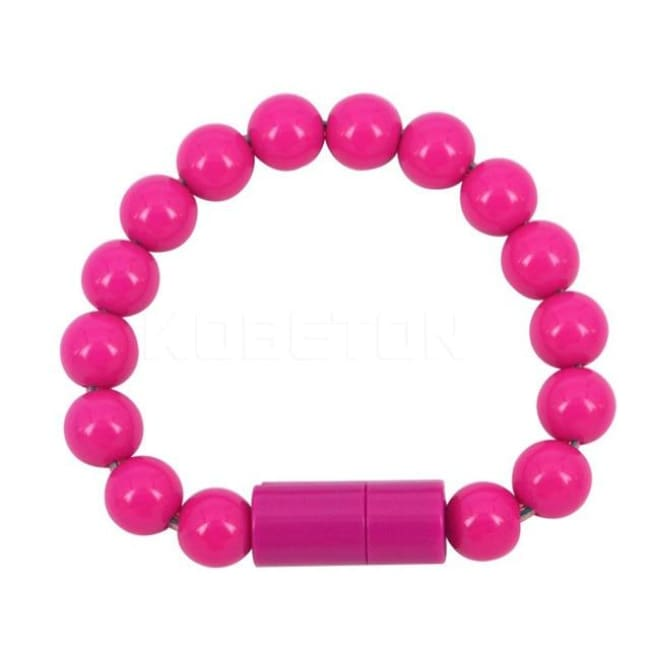 Usb Cable Pearl Bracelet - Rose Red For Iphone