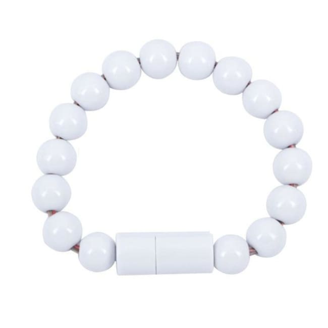 Usb Cable Pearl Bracelet - White For Android