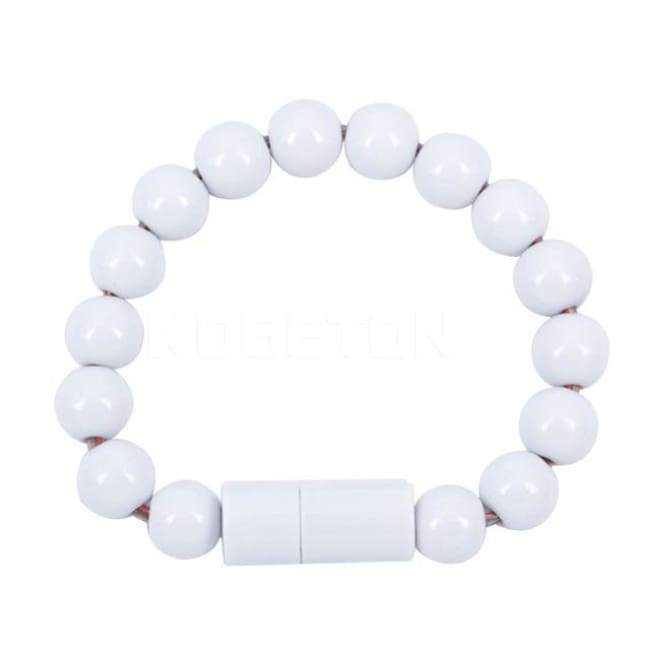Usb Cable Pearl Bracelet - White For Iphone