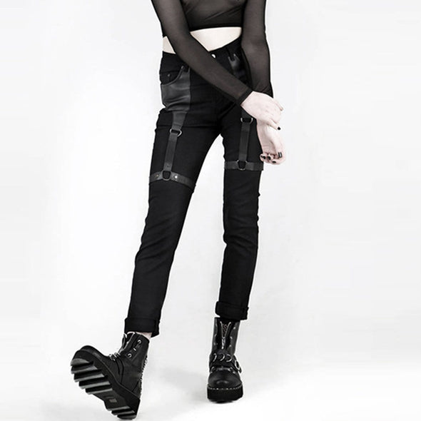 NEV Punk PU Buckle Pants