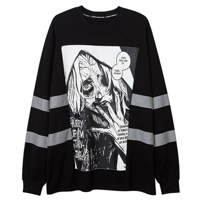 NEV Dark Reflective Demon Print Sweatshirt