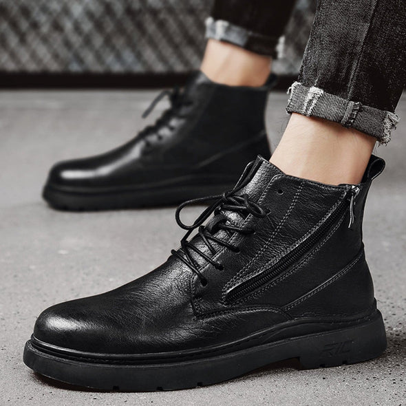 NEV Punk Locomotive High-top Leather Shoes