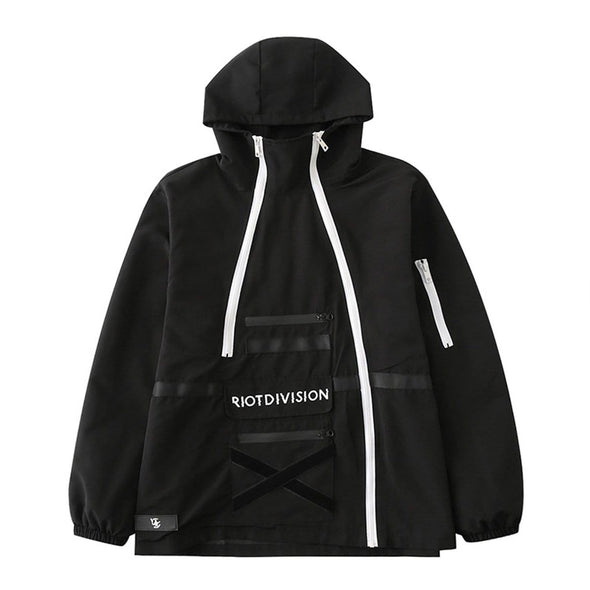 NEV Irregular Zip Up Print Cargo Jacket