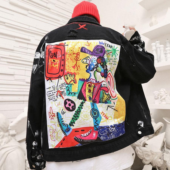 "NEV ""Funny"" illustration Denim Jacket"