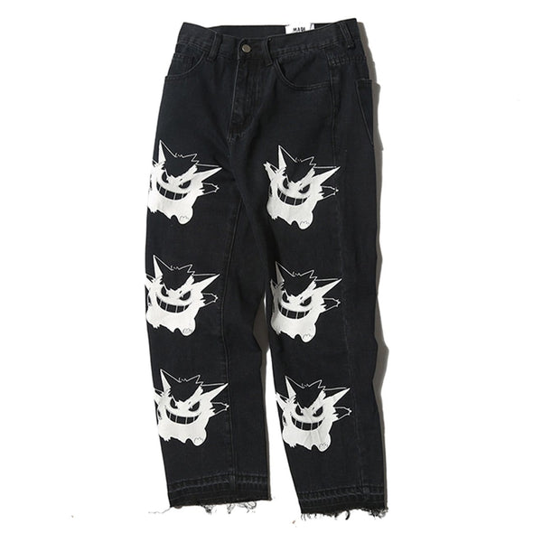 NEV Vintage Little Monster Print Denim Pants
