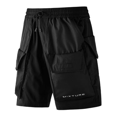 NEV Dark Functional Letter Print Nylon Shorts