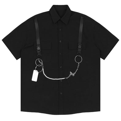 NEV Dark Ribbon Chain Shirt