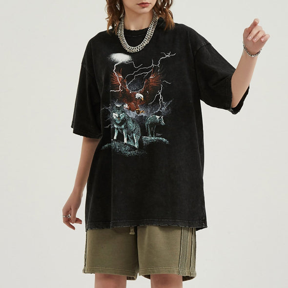 NEV Wolf Eagle Lightning Print Washed Tee