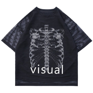 NEV Skeleton Net Patchwork Cotton Tee