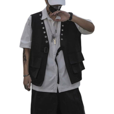NEV Rivet Big Pockets Cardigan Vest Jacket