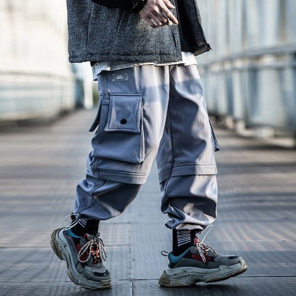 NEV Function Patchwork Pockets Drawstring Pants