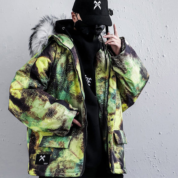NEV Fur Collar Camouflage Winter Coat