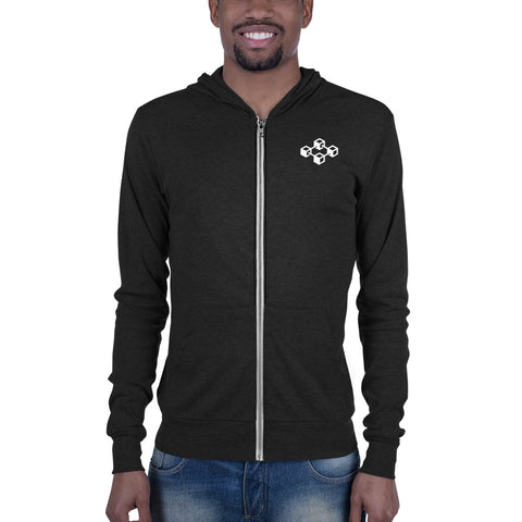 Equity Cafe White Logo - Light Weight Zip-Up