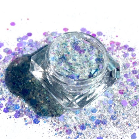 Light Blue and white rainbow holographic loose glitter eyeshadow