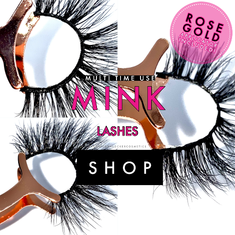 The Mink Lash Trio with Rose Gold Applicator - Lipgloss lipstick eyeshadow glitter blush highlighter foundation