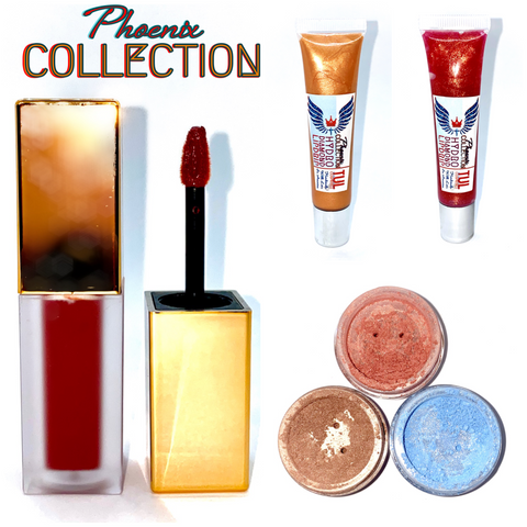Phoenix Collection Collage - Two Lip Glosses, 1 Matte Lipstick, 2 Shimmer Eyeshadows, 1 Highlighter & Bronzer Topper