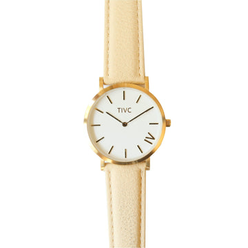 The 40mm Gold Watch with Vegan Leather Band in Cream