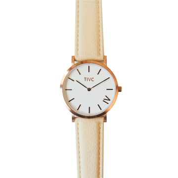 The 40 mm Rose Gold Watch with Vegan Leather Band in Cream