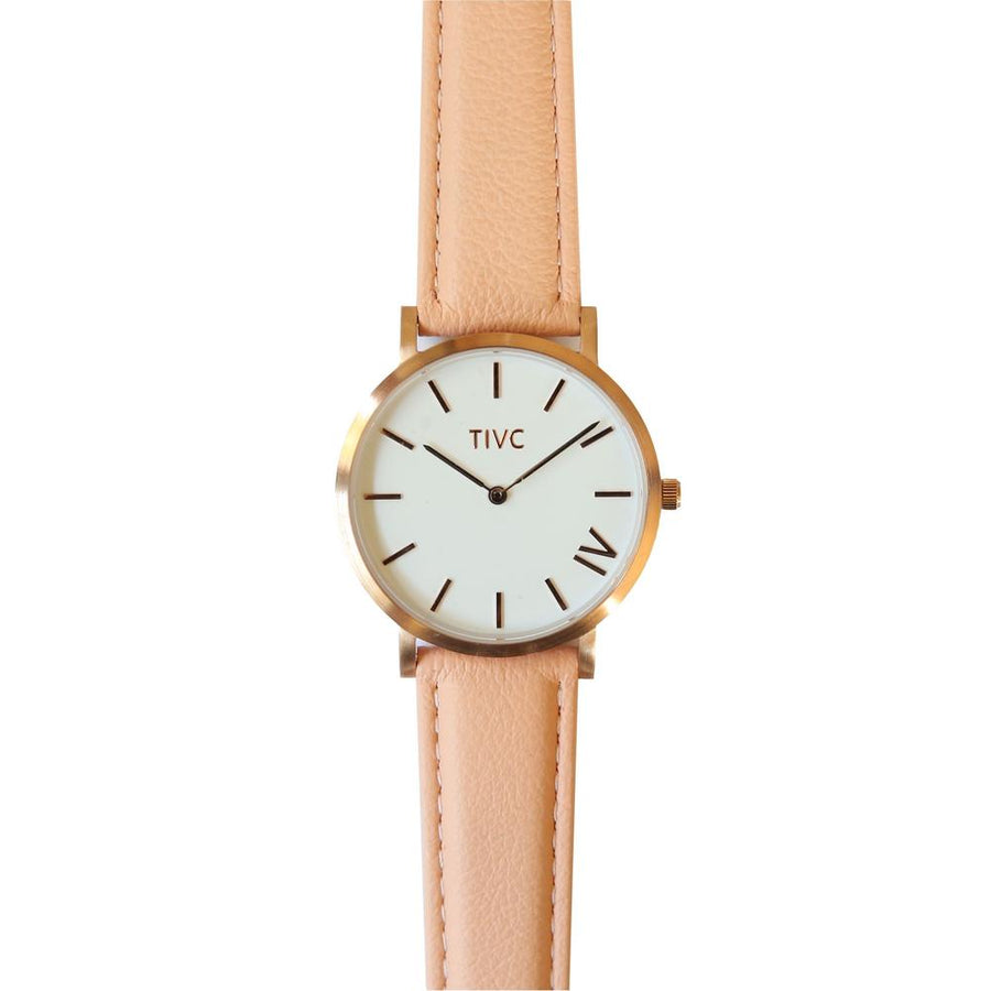 The 36mm Rose Gold with Pink Vegan Leather Stitched Watch Band