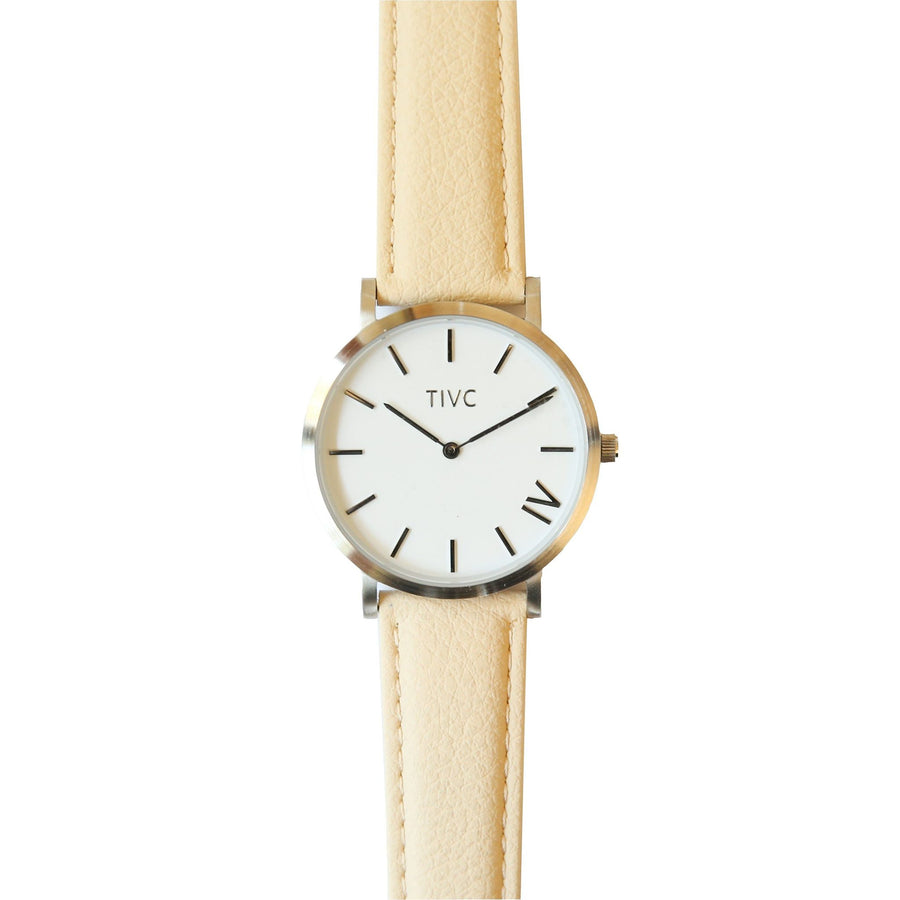 The 40mm Silver Watch with Vegan Leather Band in Cream