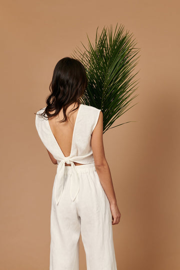 The Valentina Top in White Linen