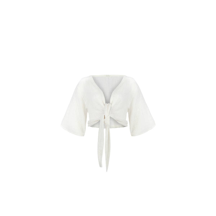 The Bali Wrap Top in White