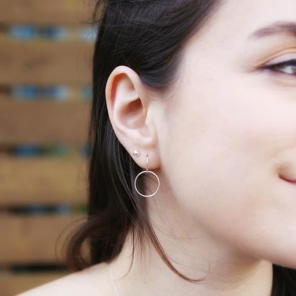 The Crescent Circle Earrings in Recycled Sterling Silver