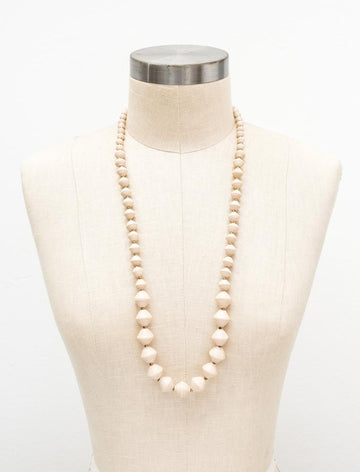 The Jolene Paper Bead Necklace in Cream