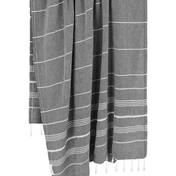 Authentic Turkish Towel in Dark Grey