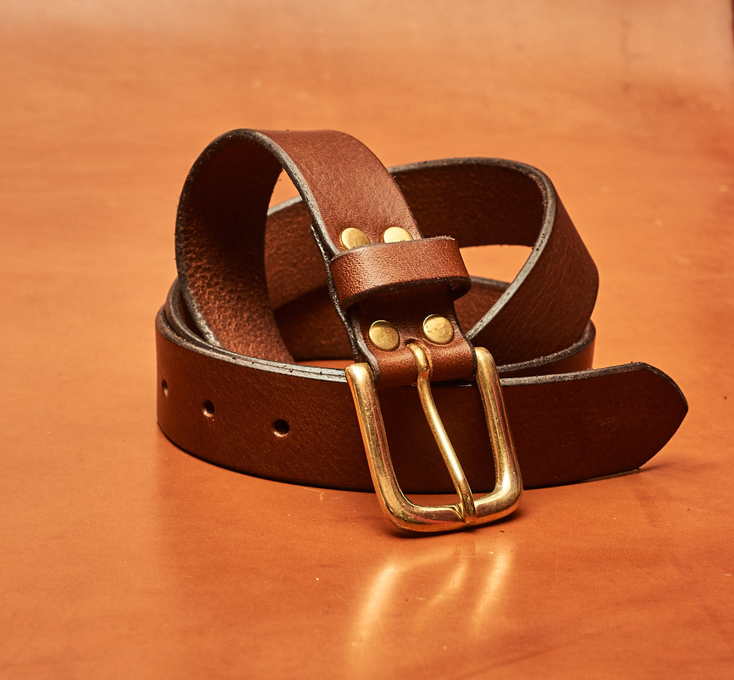 Classic Tan Leather Belt - 32mm wide (1 1/4